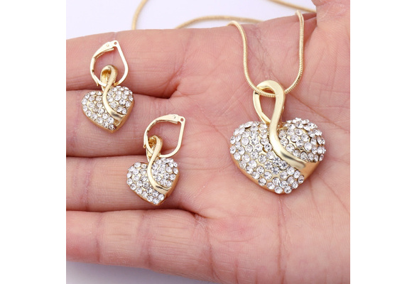 Heart Jewelry Set Necklace Earings Fashion Women Dress Accessories Fine Sapphire Ruby Vintage Crystal Wedding Sets