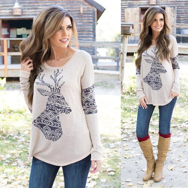 Picture of Women's Loose Elk Deer Printing Splice Long Sleeve Tops Pullover Shirt