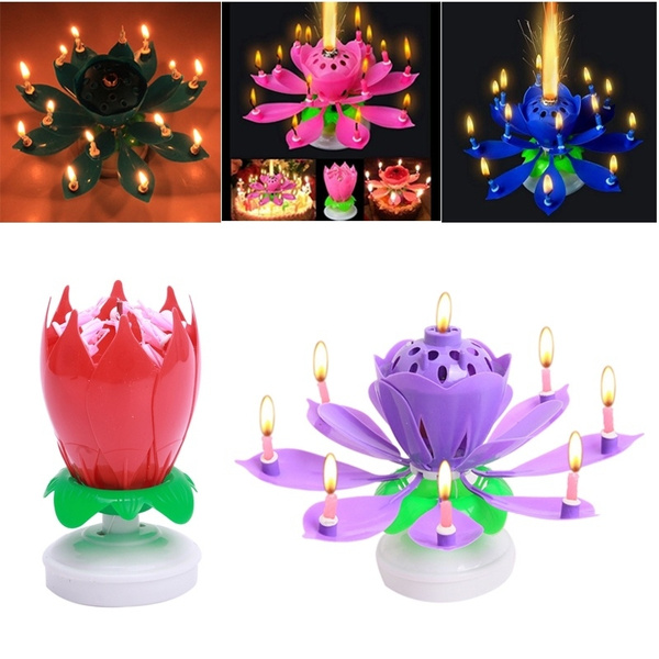 6 colors Beautiful Blossom Lotus Flower Candle Birthday Party Cake Music Sparkle Cake Topper Rotating Candles Decoration