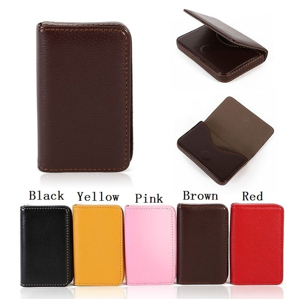 New Pocket PU Leather Business ID Credit Card Holder Case Wallet TO