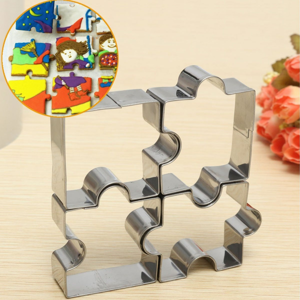 4pcs Stainless Steel Puzzle Piece Cookie Cutter Biscuit Pastry Cake Decor Mold R