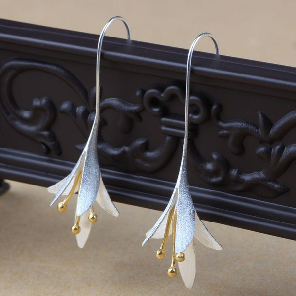 Female Fashion Long 925 Silver Plated Prevent Allergy Jewelry Earrings Drop Earrings Handmade