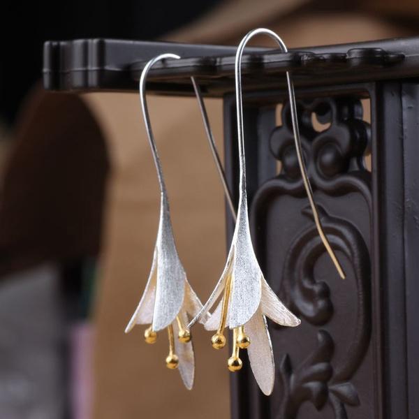 Female Fashion Long 925 Silver Plated Prevent Allergy Jewelry Earrings Drop Earrings Handmade