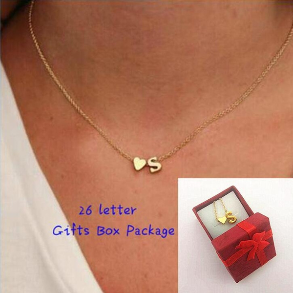 Picture of Hot Fashion 26 Letter Heart-shaped Charm Pendant Necklace Women Simple Necklace Lovers Gold Plated Silver Initial Choker