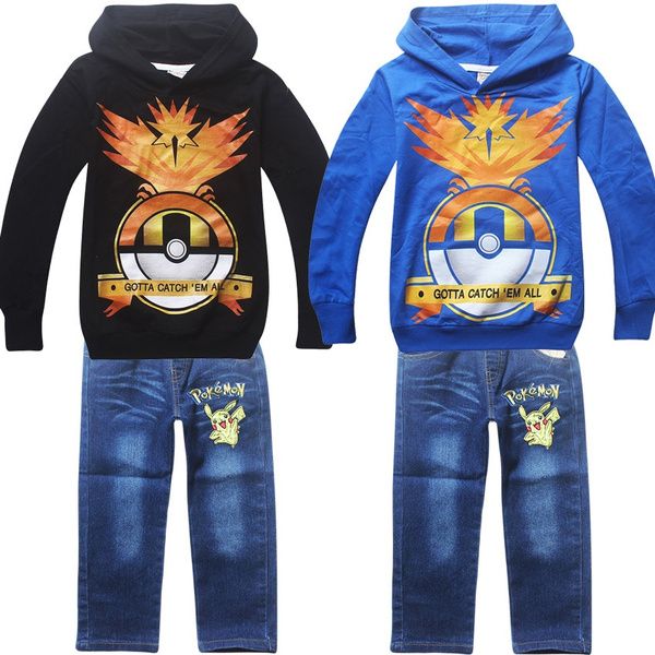 ccad7c06a8286 2016 POKEMON GO Spring and Autumn Children's Long-sleeved Hoodies Suits  Kids Clothing Sets Children's Hooded Suit Sweatshirts + Long Pans