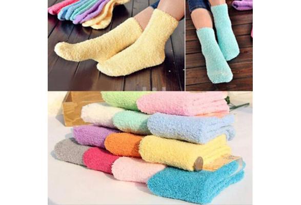 High Quality Soft Warm Floor Socks Candy Color Casual Slipper Socks Fuzzy Hosiery