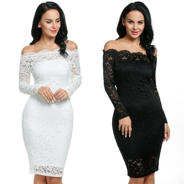 6ff39bc78766 Kilimall White/Black Sexy Strapless Off Shoulder Bodycon Dress ...