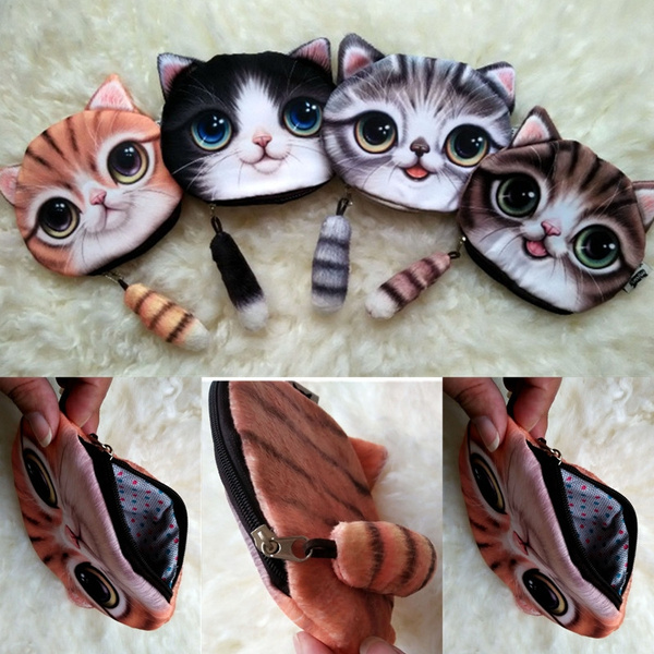Picture of 3d Kitty Tail Coin Bag Compact Handbag Women Girls Cute Cat Wallet Purse