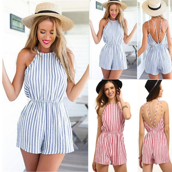 Picture of Summer Vertical Striped Rompers Women Short Jumpsuits Backless Sling Strap Playsuit Vacation Beach Rompers