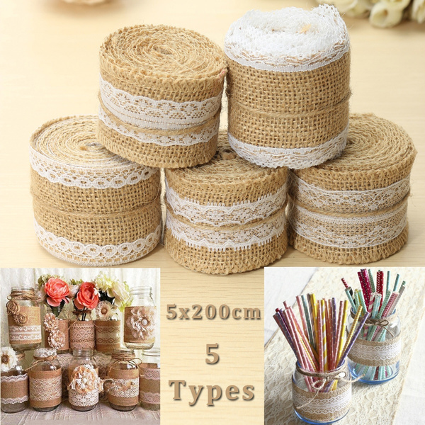 Picture of 1pc 5cm X 200cm Jute Burlap Roll White Lace Hessian Trim Table Runner Bands Rusticity Natural Wedding Decor Diy Craft