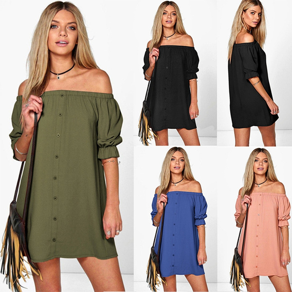 Picture of Women Fashion Sexy Off Shoulder Short Sleeves Mini Dress Casual Slash Neck Long Blouse Dress