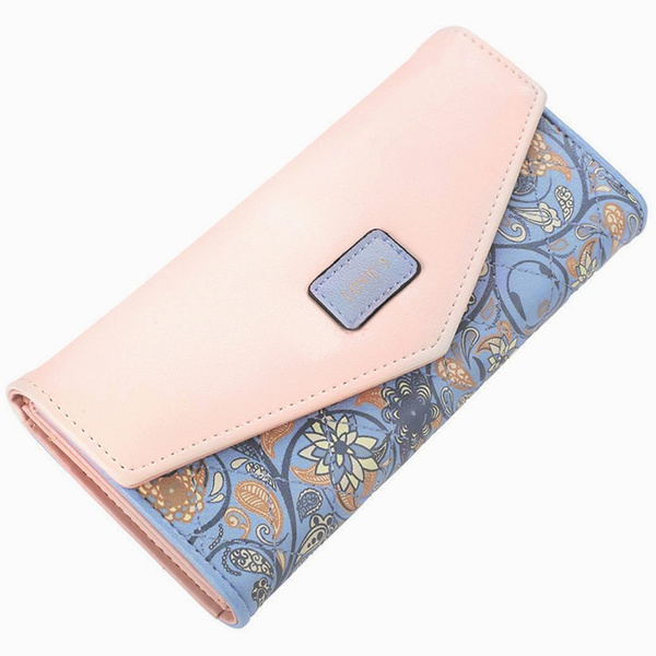Picture of Envelope Women Wallet Hit Color 3fold Flowers Printing 5 Colors Pu Leather Wallet Long Ladies Clutch Coin Purse