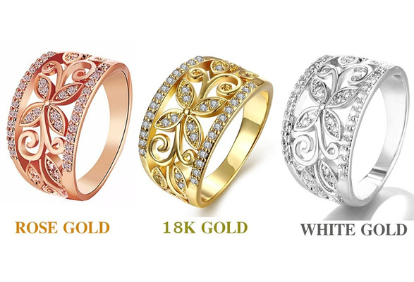 Rose Gold / Gold 925 Sterling Silver Flower Cubic Zirconia Rings Size 6,7,8,9 Female Wedding Ring Jewelry Wholesale