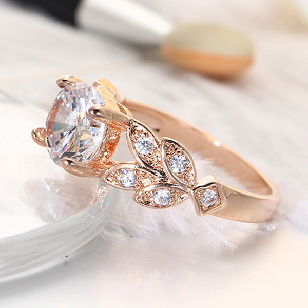 Beautiful Wedding Mosaic Crystal Zircon Leaf Ring Women Girl Noble Popular Elegant Fashion Romantic Rings Party Prom Jewelry Accessories