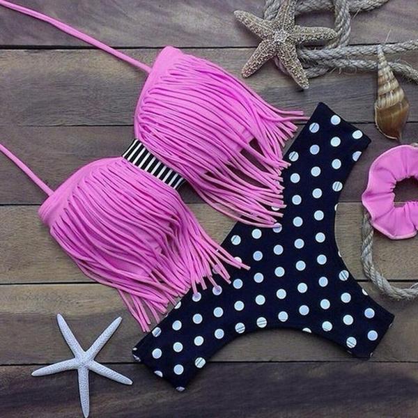 New Arrival Black Retro Fringe Tassel Bandeau Bikini Sexy Beach Bathing Suit Push Up Swimwear For Women Swimsuit Biquini