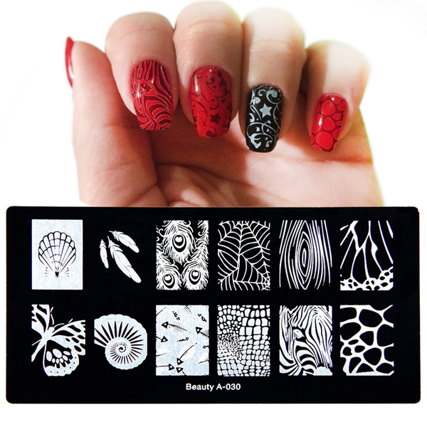 Wish Shell Leaves Peacock Feathers Spider Web Nail Art Stamp