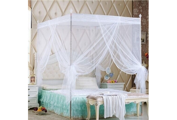 Twin Queen King Full Size No Frame Lace Bed Canopy Netting Curtain Bed Mosquito Net Princess Bedding Three Sides Openings