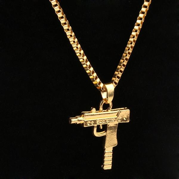 Wish supreme unisex men gold machine gun pendant necklace long chain aloadofball Image collections