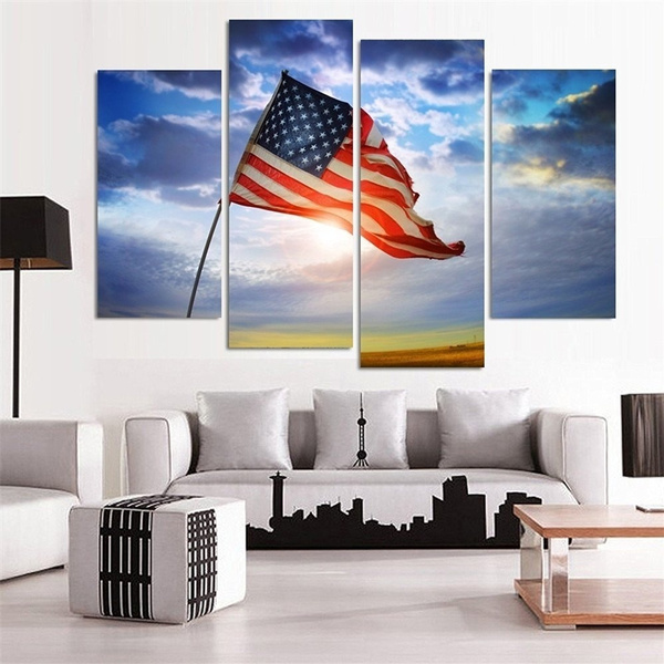 Unframed 4 Panels Wall Art Canvas Paintings Wall Decorations American Flag  Home Decor