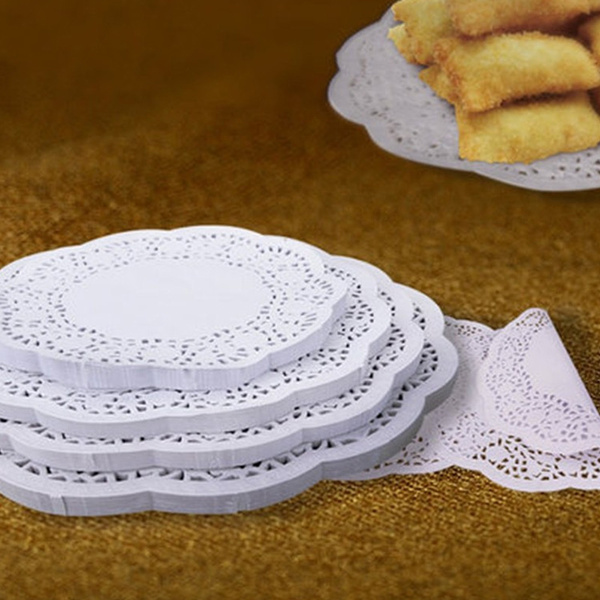 Picture of 6 Sizes100 Pcs Lace Paper Doilies Cake Placemat Craft Vintage Coasters