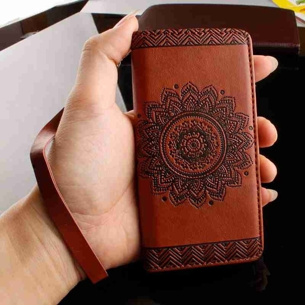 Picture of Fashion Luxury Menwomen Embossed Pattern Fip Cover Pu Leather Mobile Phone Bag Case With Card Slots Lanyard Compatible For Apple Iphone7 7plus 5 5g 5s Se 6 6s 6plus 6s Plus /Samsung Galaxy Note 7 J310 J510 A310 A510 S5 S6 S6 Edge Grand Prime G530 S7 S7 Edge /Huawei Ascend P9 Plus