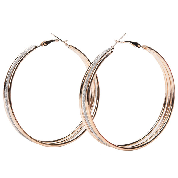 Lovely Plated Crystal Rhinestone Three Circles Hoop Dangle Earrings Fancy