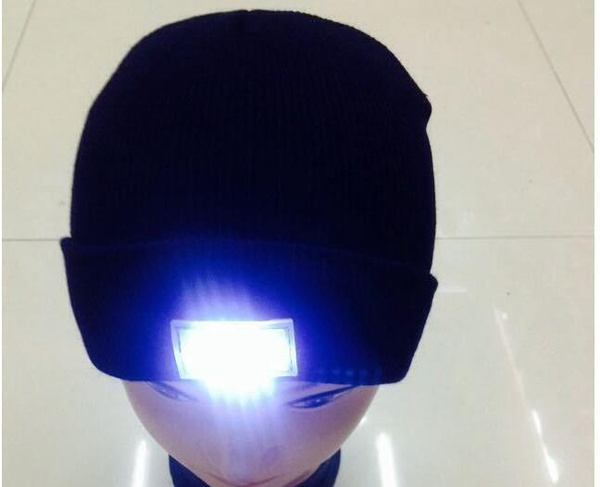 Unisex 5 LED lighted Winter Warm Knitted Beanie Cap Hats  Angling Hunting Camping Running GG