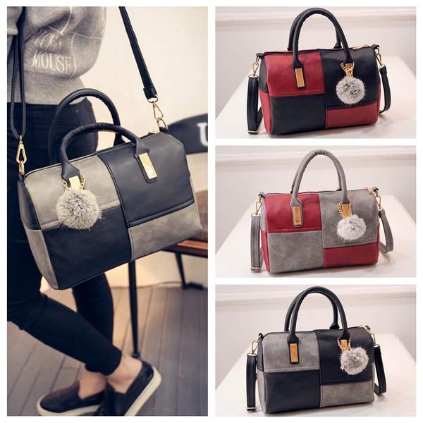 PU Leather Tote Women Shoulder Patchwork handbags