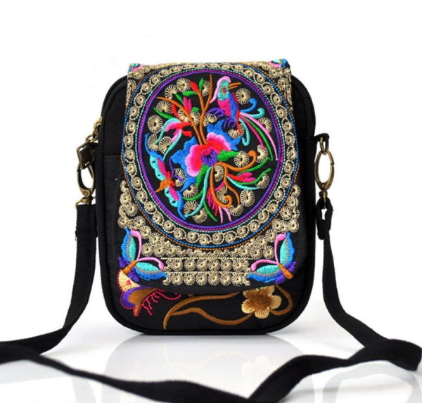 Picture of Ethnic Embroidery Bag Vintage Embroidered Canvas Cover Shoulder Messenger Bags Hmong Handmade Multicolor Small Coins Bagsliutanghui