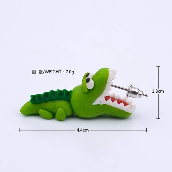 Unique Popular Polymer Clay Green Crocodile Handmade Earring Fashion Women Cute Girl Animal Cartoons Personality Earrings Jewelry Accessories (Color: Green)