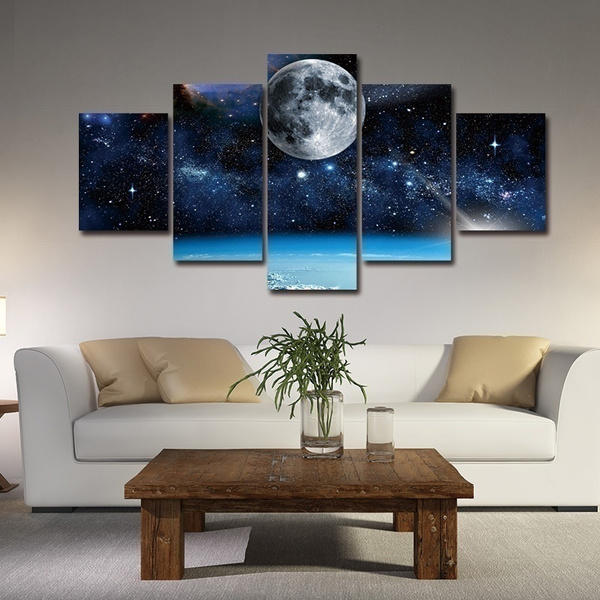 home office artwork. 5 Pieces Frameless Wall Art Painting Print Modern Space Canvas Moon Paintings Decor For Living Room Home Office Artwork Decoration K