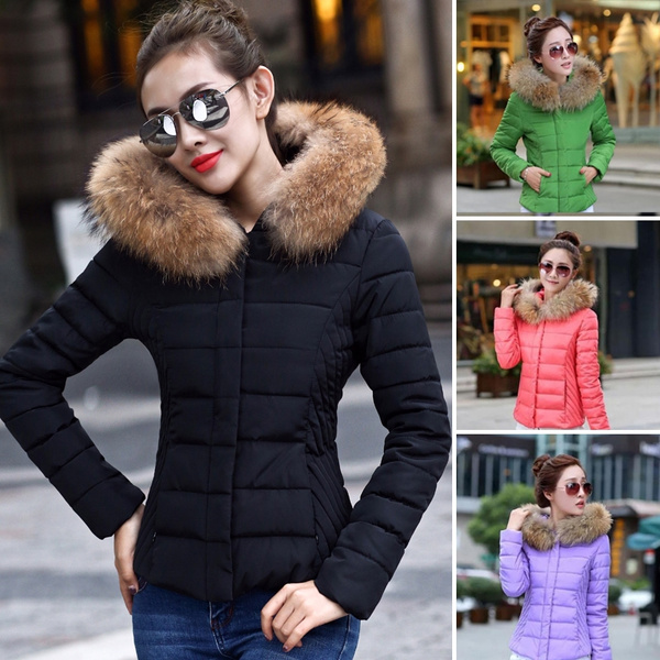 4d82f078fa8 NEW STYLE Winter Women's Fur Collar Hooded Coat Jacket Fashion Lightweight  Slim Short Coat Thicken Keep Warm Down Ladies Cotton Padded Parka Top ...