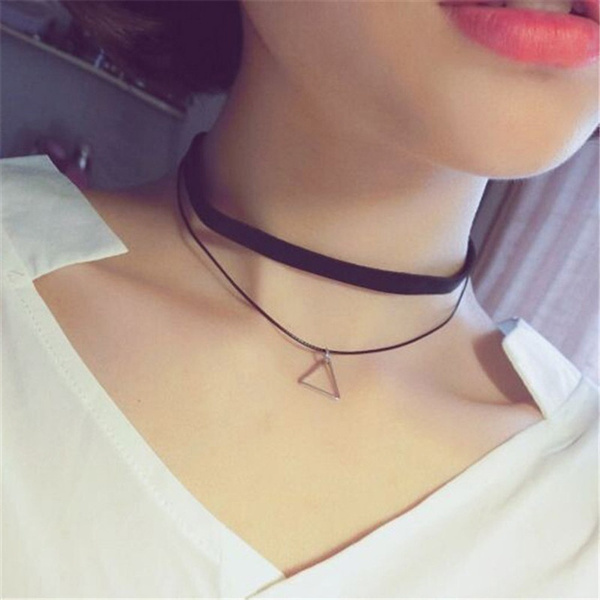 8pcs/Set Fashion Charm Women Sexy Black Stretch Lace Velvet Gothic Choker Necklace Jewelry