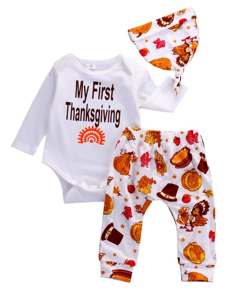 Wish Toddler Baby Boys Girls Tops Thanksgiving Clothing Romper