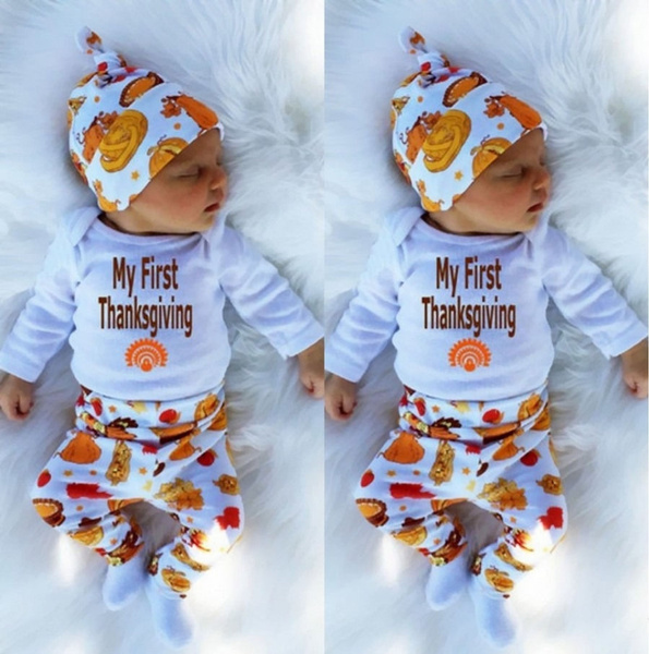 d424fc18c0d13 Toddler Baby Boys Girls Tops Thanksgiving Clothing Romper +Pants ...