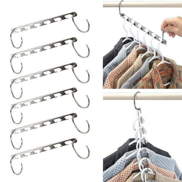 Picture of 6pcs Wonder Magic Stainless Steel Clothes Closet Hangers Clothing Organizeruk Stock Color Silver