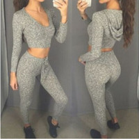 100% High quality 2016 European Women autumn winter Plus size XL corp top with hoodies and long pants sports style suits Long sleeved casual Sport Wear Gym 2 Pieces Suit Sets woman Running Yoga loose Fitness Clothings sexy ladies leisure sports suit 0927