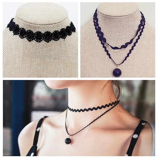 9 Pieces Black Velvet Chokers Necklaces, Stretch Tattoo and Black Bead Chokers Necklaces