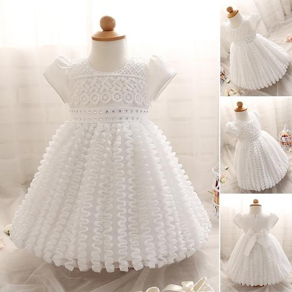 a8b746990f5ac Newborn Infant Baby Girl White Crochet Tulle Princess Dress Kids Short  Sleeve Birthday Party Formal Skirts