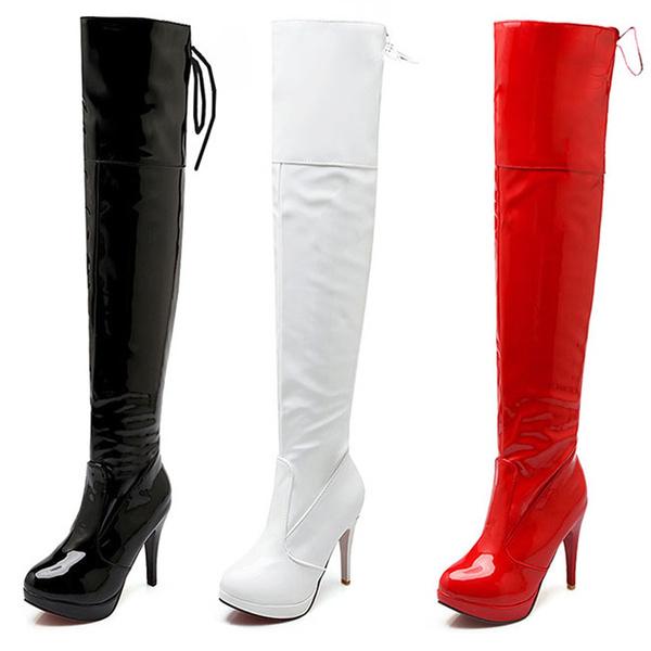 1ca5a5a00470c5 lack schuhe high heels herren Gay damen sexy party Overknee stiefel  stilettos