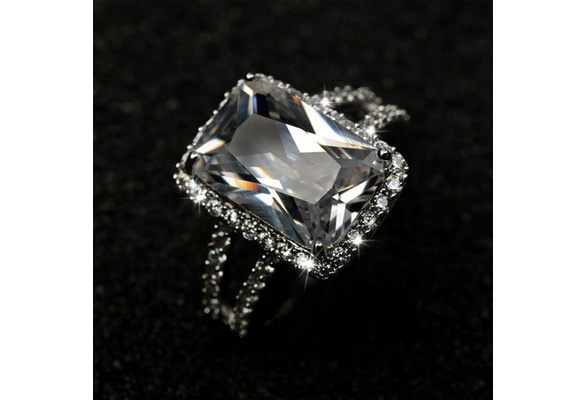 Rings Cut Engagement Wedding Female Rings Square Diamond White Gold Plated Jewelry Luxury Design For Women Princess