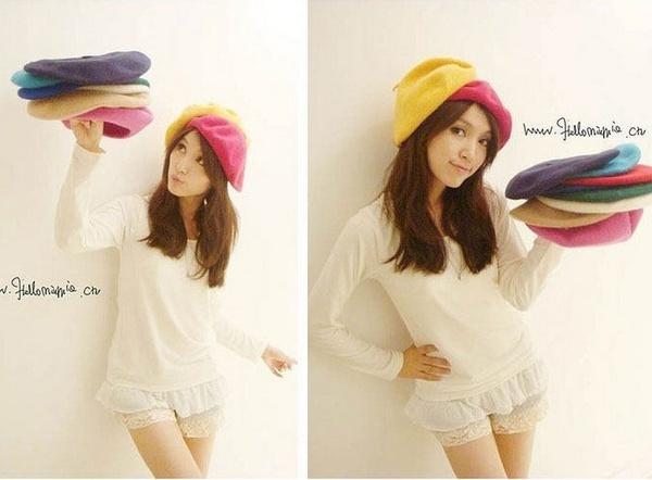 Fashion Wool Warm Women Felt French Beret Beanie Newsboy Berets Hat Cap Tam  Hot d7f3deb52c1b