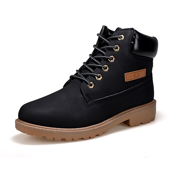 Picture of Boys Men Women Boots Autumn Casual Winter Suede Tooling Snow Boot Leather Couples Martin Zapatos Mujer Big Size 35-46