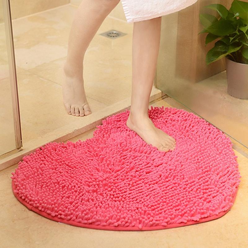 Heart Shaped Microfiber Chenille Soft Fluffy Rug Bathroom Kitchen Carpet Mat Us