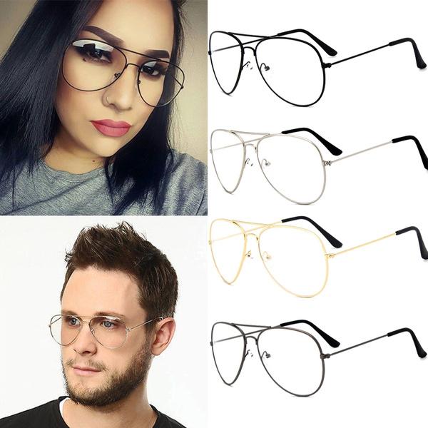 Picture of Fashion Men Women Sunglasses Oversize Anti Reflective Lenses Plain Mirror Glasses Frame Vintage Goggles Unisex Computer Glasses