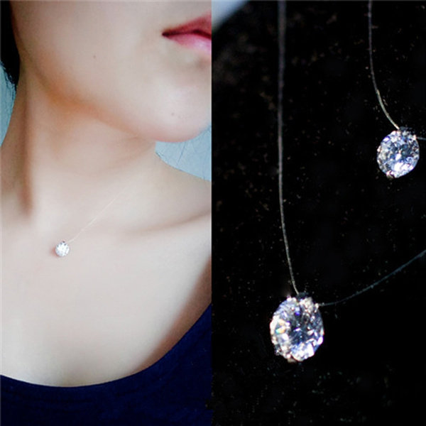 Picture of Fine Transparent Invisible Line Zircon Choker Necklace Clavicle Super Shining Crystal Pendant Necklaces