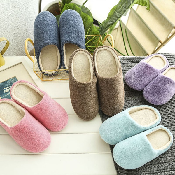 Picture of Women Men Urban Cozy Soft Skid-proof Fleece Plush Indoor Slipper