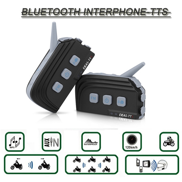 Motorcycle Communication Systems Bluetooth Wireless Hands-Free Headset  Helmet Intercom 1200m Rider to Pillion