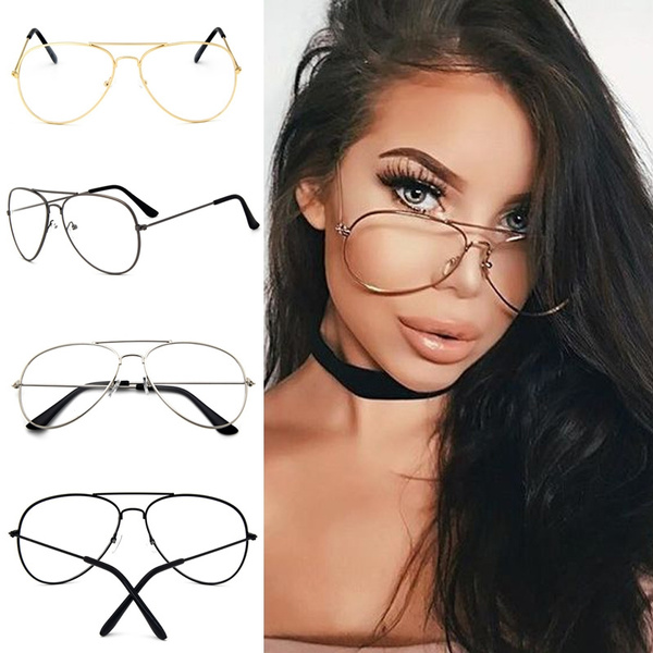 Picture of Punk Style Fashion Gold Frame Clear Glasses Myopia Clear Frame Glasses Women Men Spectacle Frame Clear Lens Optical Punk Glass Lunette Unisex Eyewear