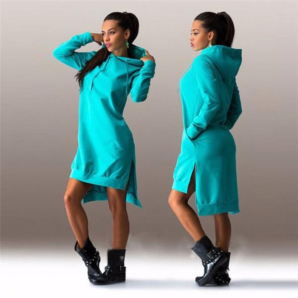 Autumn Ladies Casual Loose Hoodie Dress Women Plus Size Hoody Pullover Hooded Dress
